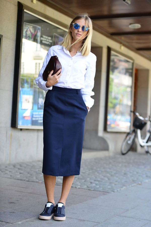 Sneakers with pencil skirts